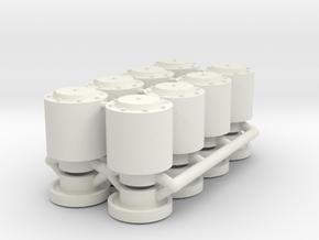 1/16 Panther II Wheel Hubs in White Natural Versatile Plastic