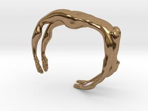 Female figure bracelet in Natural Brass