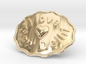 I Love New Delhi Belt Buckle in 14K Yellow Gold