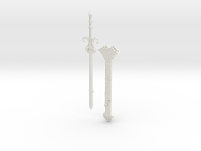 """BotW"" Sword of the Six Sages and Scabbard Set in White Natural Versatile Plastic: 1:12"