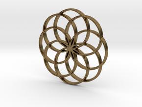 8 Petal Flower of Life Circles Rings Pendant in Natural Bronze