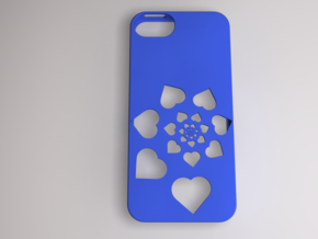 Heart Spiral iPhone Case in Blue Processed Versatile Plastic