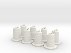 8 Traffic Barrels, Standard in White Natural Versatile Plastic: 1:76 - OO