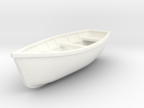Wooden Boat  01. 1:20  Scale in White Strong & Flexible Polished