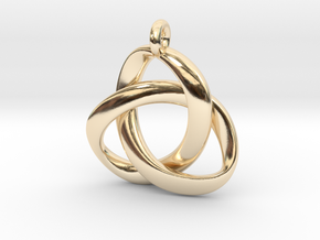 3D Open Triquetra Pendant 4.5cm in 14k Gold Plated Brass