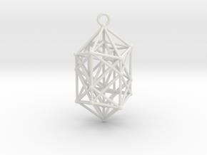 Hyperdiamond Crystal - 4D 24 Cell pendant in White Natural Versatile Plastic