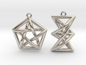 Forbidden Subgraph Earrings in Rhodium Plated Brass