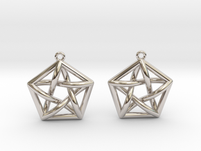 Complete Graph Earrings (K_5) in Rhodium Plated Brass
