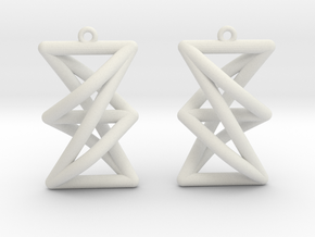 Complete Bipartite Earrings (K_{3,3}) in White Natural Versatile Plastic
