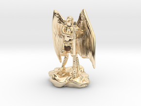Aarakocra in Leather with Staff, Mace, & Crossbow in 14k Gold Plated Brass