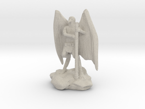Aarakocra in Leather with Staff, Mace, & Crossbow in Natural Sandstone