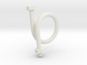 Long Bolt Ring in White Natural Versatile Plastic