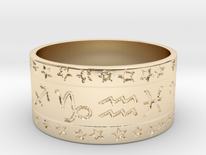 Zodiac ring (+3 intelligence) in 14k Gold Plated Brass