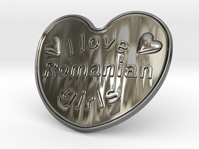 I Love Romanian Girls in Fine Detail Polished Silver