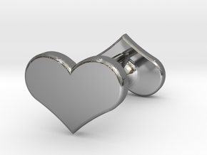 Solid Heart Earings in Fine Detail Polished Silver