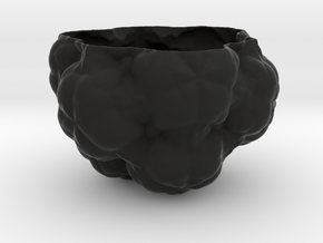 Fractal Flower Pot III in Black Strong & Flexible