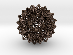 Compound of 20 Octahedra, small in Polished Bronze Steel