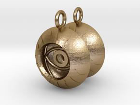 2x Vesica Eye Sacred Geometry Pendant in Polished Gold Steel