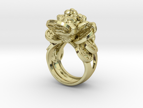 Greedy Money Toad Ring: JinChan in 18k Gold Plated Brass: 9 / 59