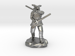 Dragonborn in Scale Mail With Swords and Bow  in Natural Silver