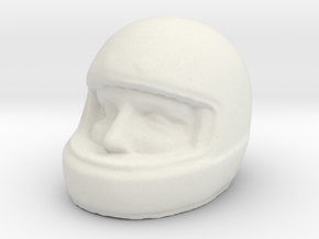 1/[24, 43, 18, 12] Racer Head in Helmet 02 in White Natural Versatile Plastic: 1:12