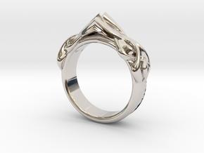 Designer RING 6 in Rhodium Plated Brass: 7 / 54
