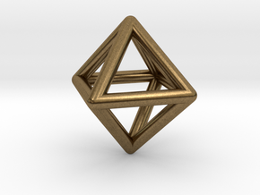 Octahedron Triangular Pyramid Pendant in Natural Bronze