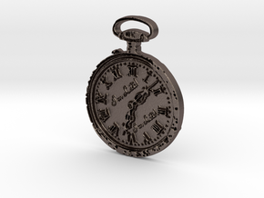 """I'm Late"" Pocketwatch Pendant in Polished Bronzed Silver Steel"