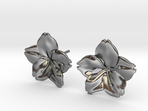 Sakura Stud Earrings in Polished Silver