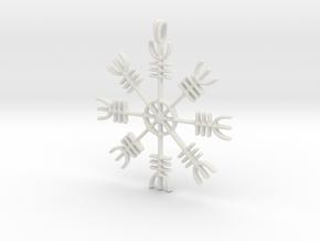 Aegishjalmur Icelandic Sign Viking Symbol Jewelry  in White Natural Versatile Plastic