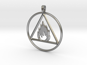 Ignis Alchemy symbol Fire Element Jewelry Pendant in Natural Silver