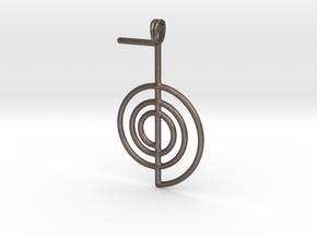 Reiki Power Symbolic jewelry Pendant Choku-Rei in Polished Bronzed Silver Steel