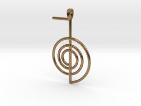 Reiki Power Symbolic jewelry Pendant Choku-Rei in Natural Brass