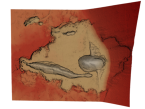 Mars Map: Depression At Base, Red in Full Color Sandstone