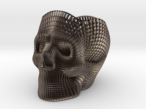 Skull Pencil Holder in Polished Bronzed Silver Steel