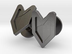 Wakaba Leaf Cufflinks in Polished Nickel Steel