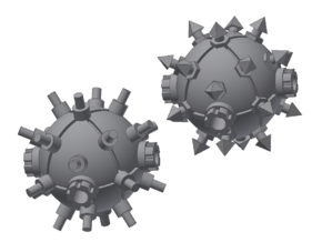 Orbital Mines for Battlefleet Gothic (two types) in Smooth Fine Detail Plastic
