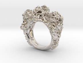 Skull Biker ring RS005000001 in Rhodium Plated Brass: 6 / 51.5