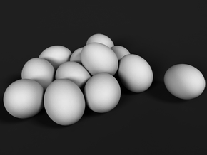 Ostrich Egg 1:20 Set of 12 Eggs in White Natural Versatile Plastic