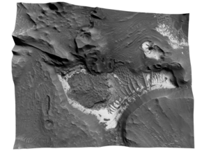 Mars Map: Light Outcrops in B&W in Glossy Full Color Sandstone