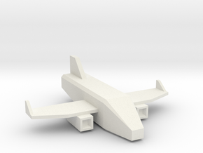 Low Poly 3D Airplane in White Natural Versatile Plastic: Medium