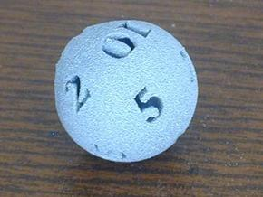 Round 12-sided die in White Natural Versatile Plastic