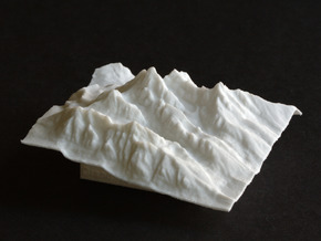 3'' Grand Tetons Terrain Model, Wyoming, USA in White Natural Versatile Plastic