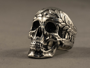 =EPIC CESAR SKULL RING= Size 11.5 in Polished Silver