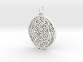 Christmas Holdiday Lace Ornament Pendant Charm in White Natural Versatile Plastic