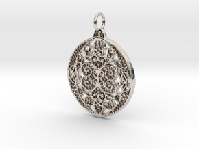 Christmas Holdiday Lace Ornament Pendant Charm in Platinum