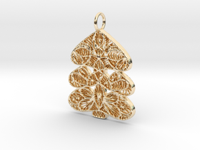 Christmas Tree Holdiday Lace Pendant Charm in 14K Yellow Gold