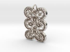 Lace Ornament Pendant Charm in Platinum