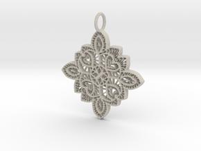 Lace Ornament Pendant Charm in Natural Sandstone