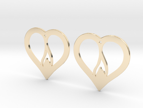 The Flame Hearts (precious metal earrings) in 14K Yellow Gold